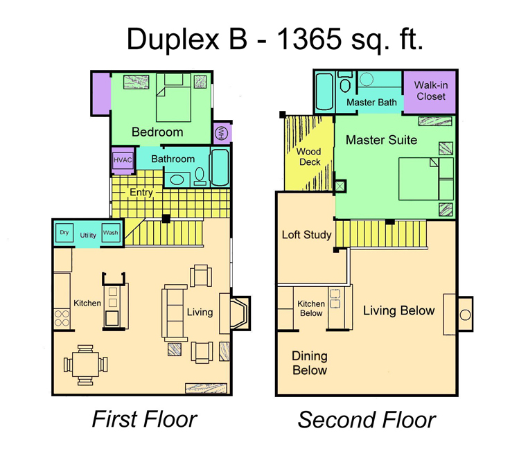Two Bedroom, Two Bathroom Duplex Plan B